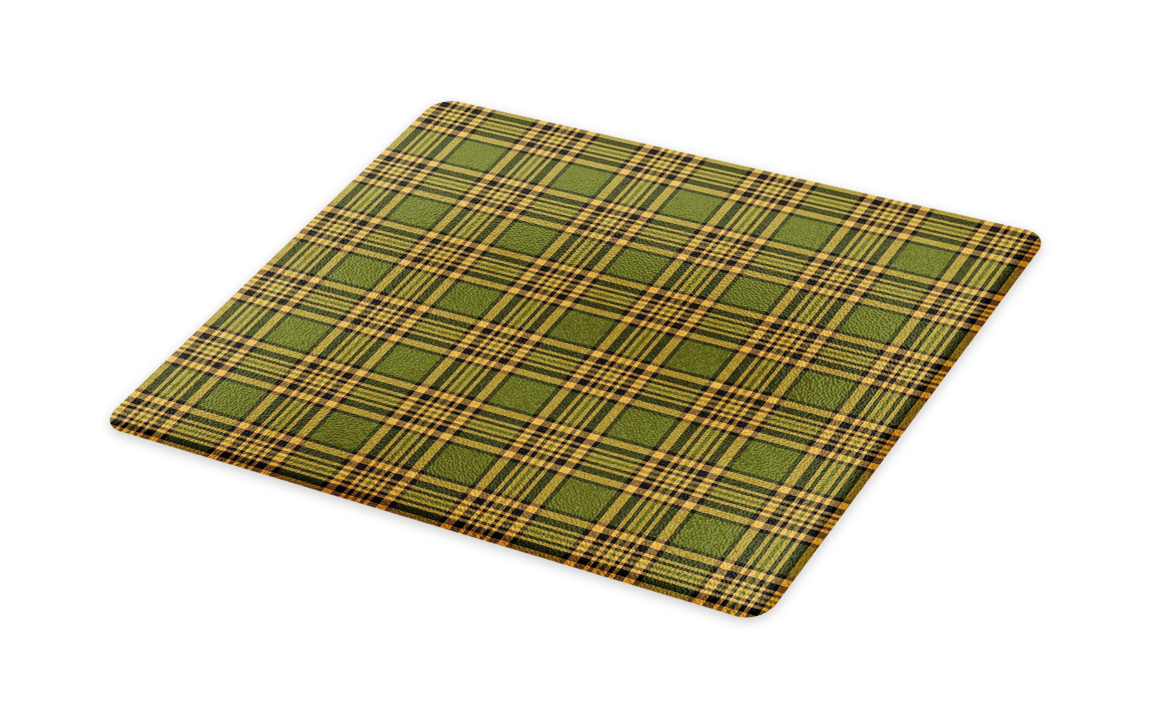 Lunarable Plaid Cutting Board, Tartan Pattern in Autumn Tones Old Fashioned Design Country Illustration, Decorative Tempered Glass Cutting and Serving Board, Large Size, Olive Green Mustard