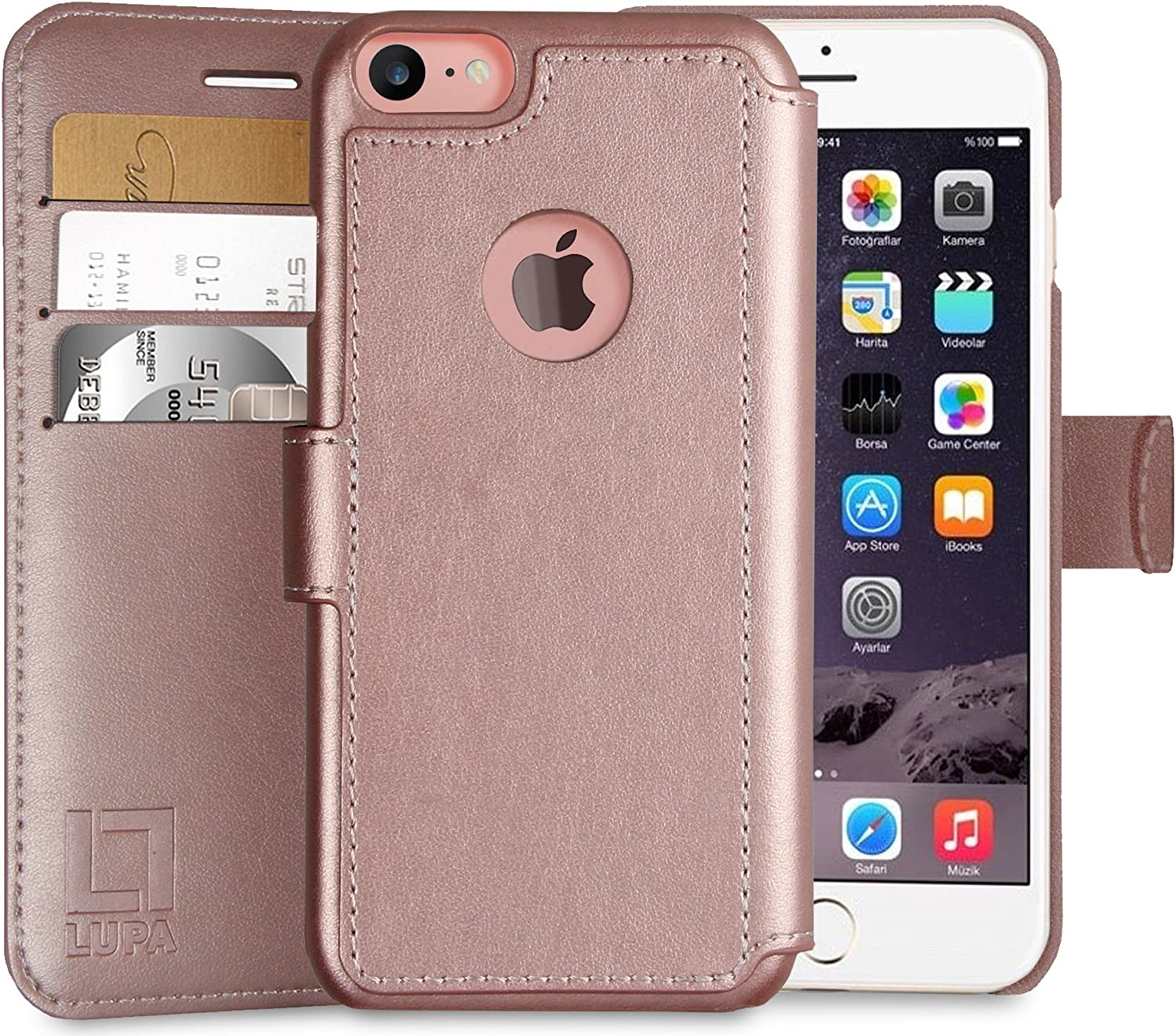 LUPA iPhone 6S Plus Wallet case, iPhone 6 Plus Wallet Case, Durable and Slim, Lightweight with Classic Design & Ultra-Strong Magnetic Closure, Faux Leather, Rose Gold, for Apple iPhone 6s Plus/6 Plus