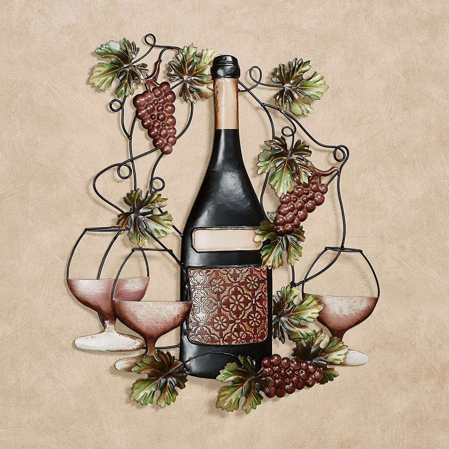 Touch of Class Vining Grapes Port Classique Wine Bottle Metal Wall Art 19