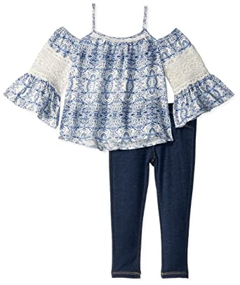83ea21e365b Amazon.com: Jessica Simpson Baby Girls Cold Shoulder Top and Jean Set:  Clothing