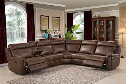 Christies Home Living 6 Piece Reclining Living Room Sectional With 3  Recliners, Clark Brown