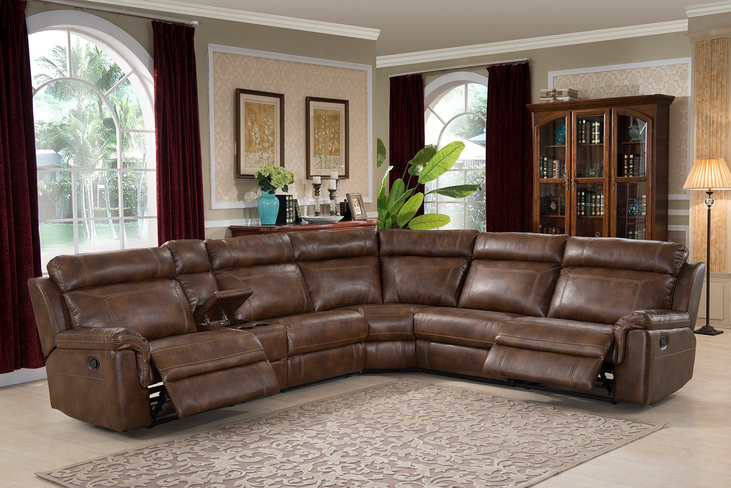 Christies Home Living 6-Piece Reclining Living Room Sectional with 3 Recliners, Clark Brown by Christies Home Living