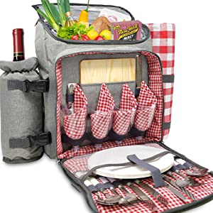 Nature Gear XL Picnic Backpack - Classic 4 Person Insulated Design - Waterproof Blanket and Full Cutlery Set Red