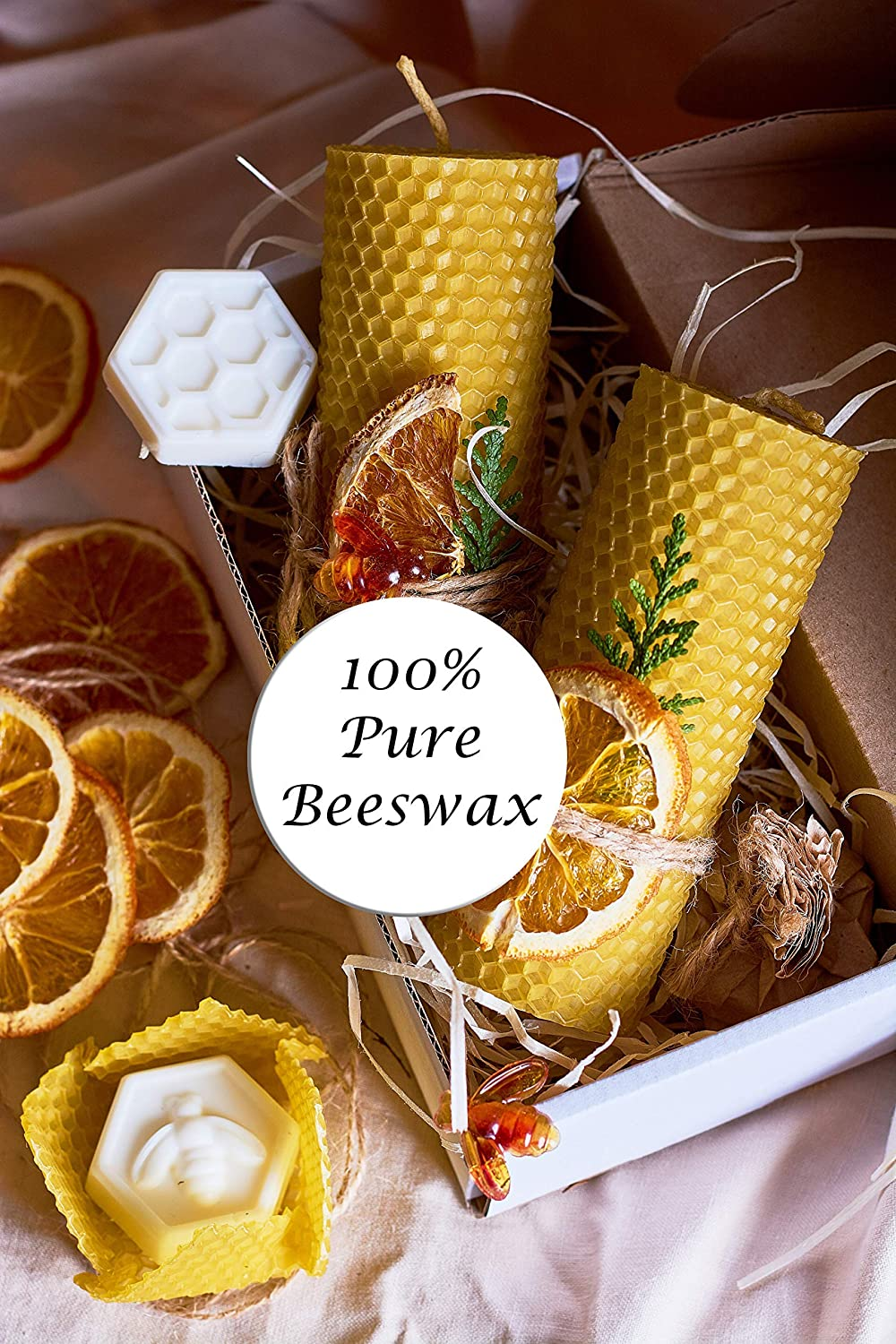 and 2 Shea Butter Soaps for Gift and Home Decor Beeswax Gifts 100/% Beeswax Candles Gift Box Set of 2 Scented Pillar Candles Size 4.3 x 1.5 in 11 x 4 cm