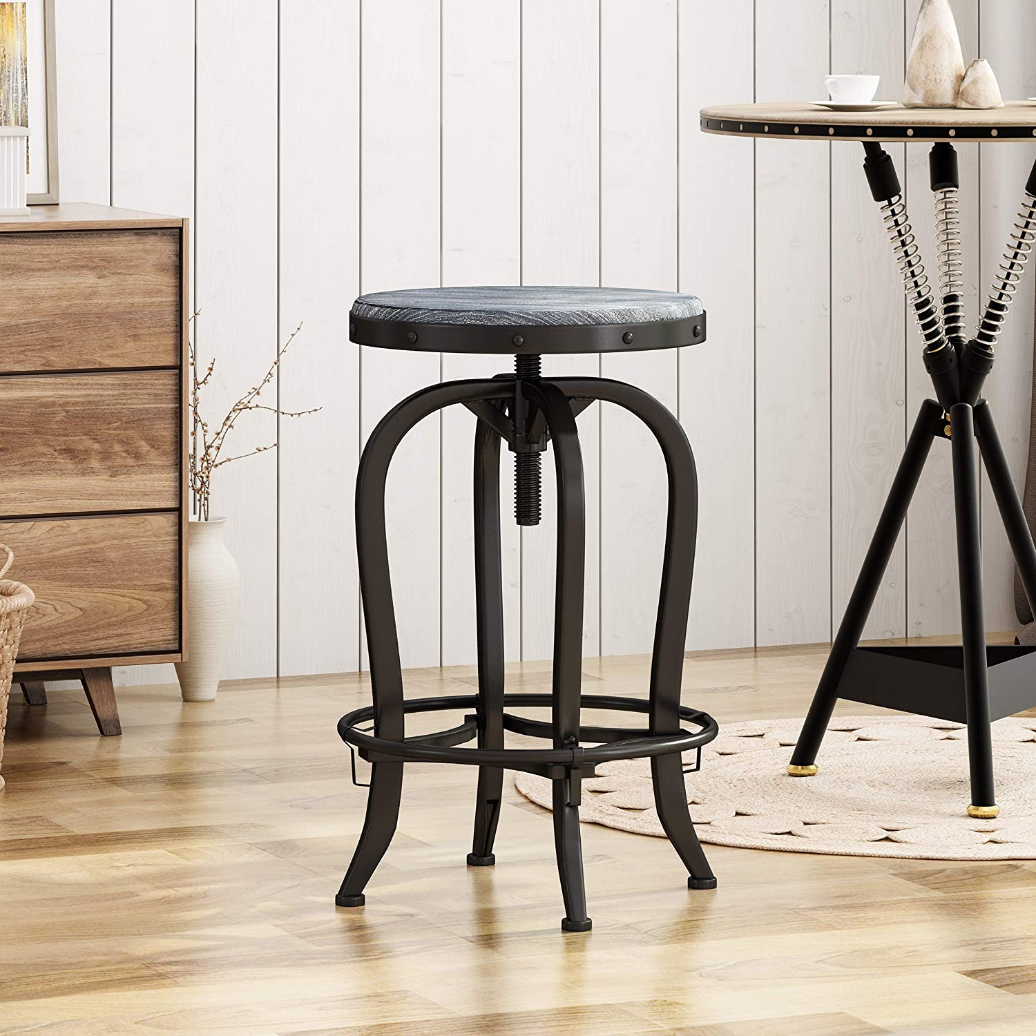 Christopher Knight Home Blake Reclaimed Swiveling Iron Barstool with Firwood Seat, Black and Brushed Dark Gray
