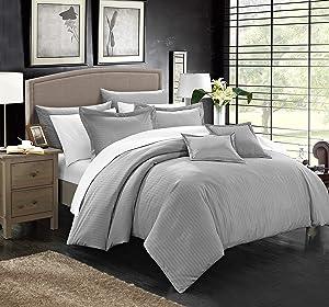 Chic Home 7 Piece Khaya Down Alternative Jacquard Striped Comforter Set, Full/Queen, Silver