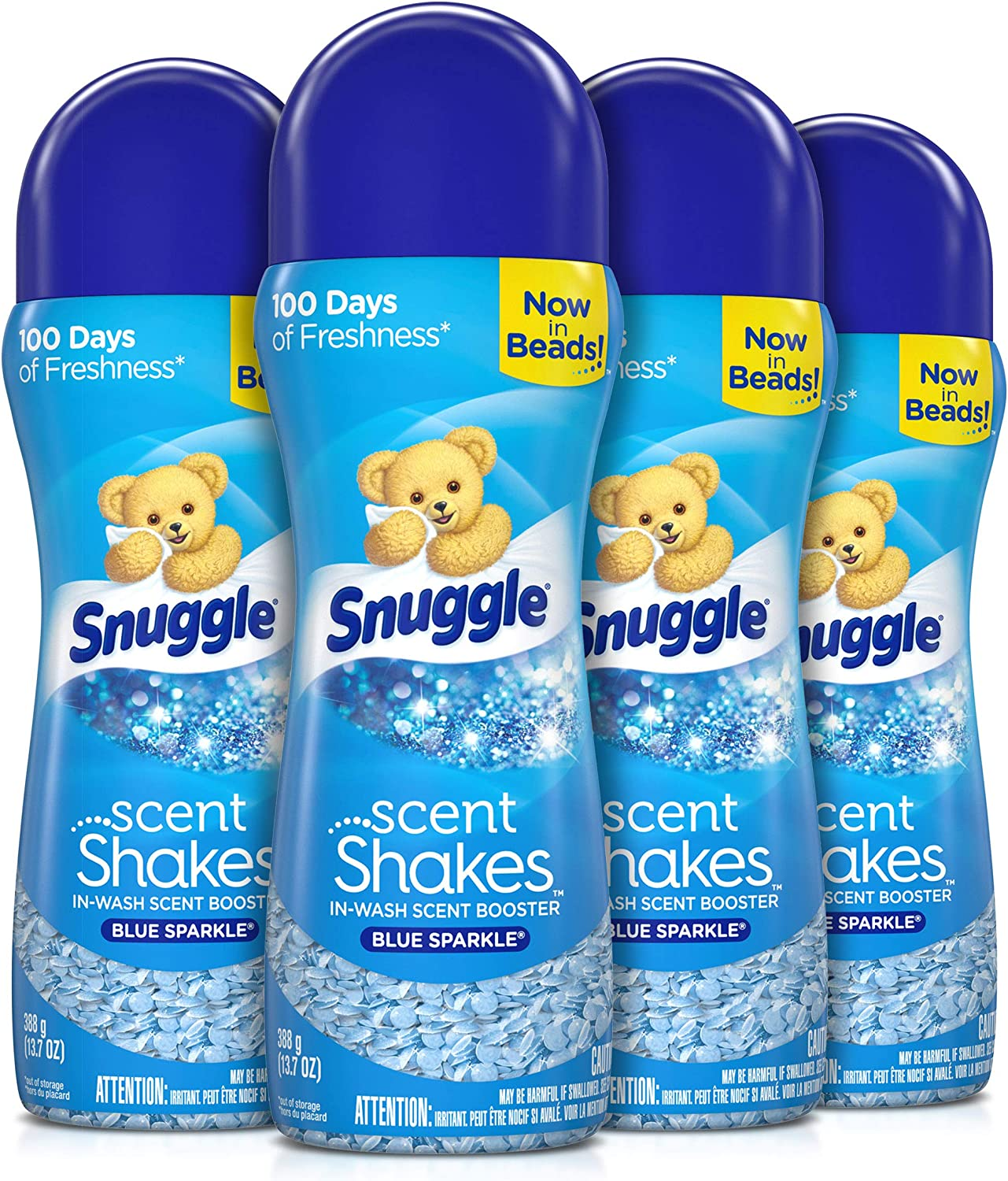 Snuggle Scent Shakes in-Wash Scent Booster Beads, Blue Sparkle, 13.7 Ounce (Pack of 4)