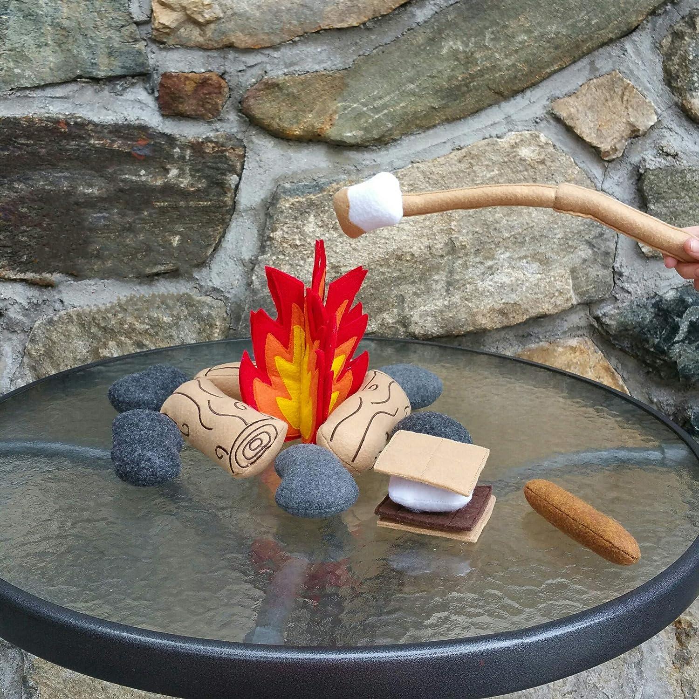 Felt Campfire Bonfire Play Set, Pretend Food, Kids Camping Toy, Toddler Birthday Gift, Photo Prop
