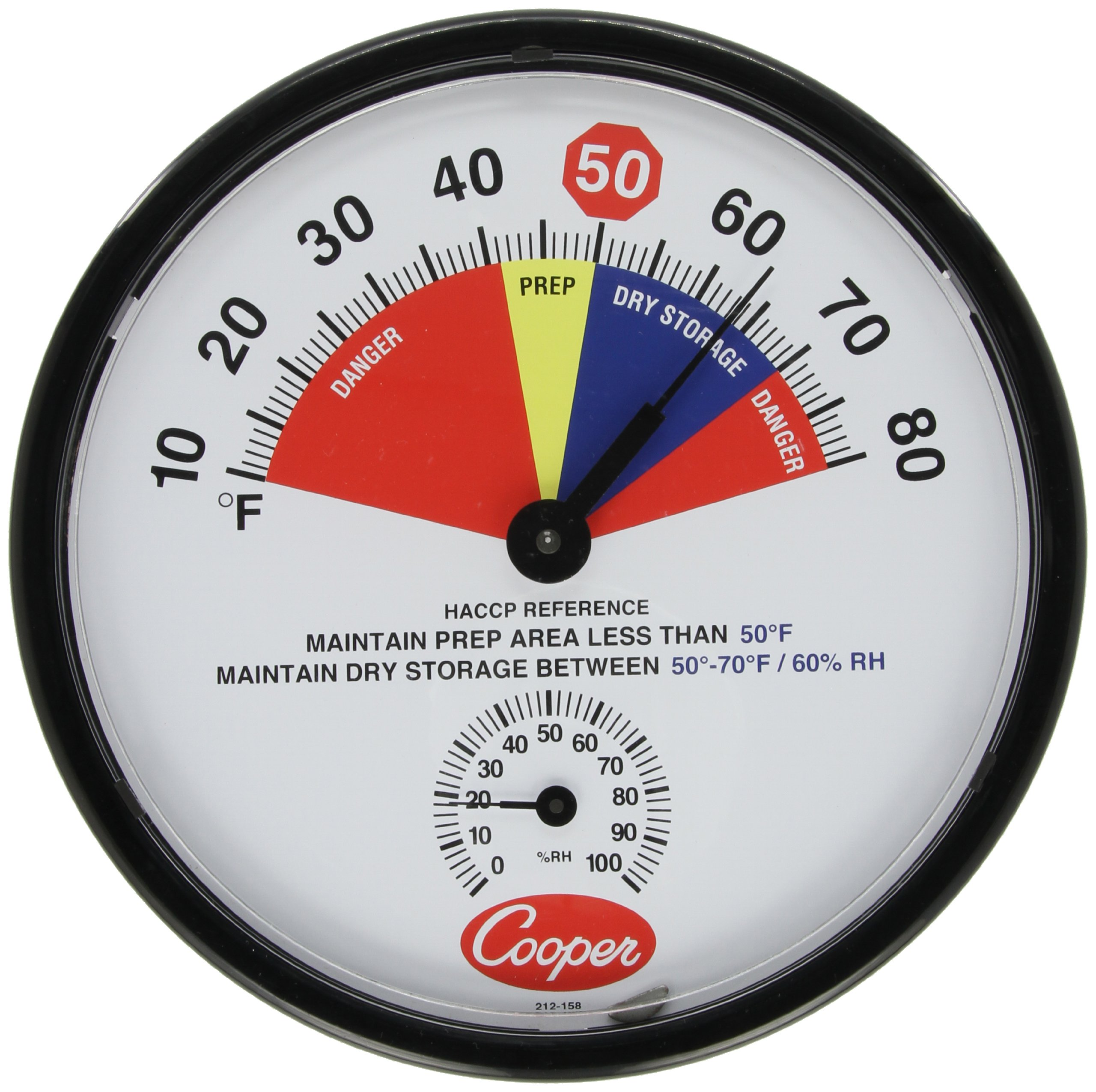 Cooper-Atkins 212-158-8 Bi-Metals Dry Storage/Prep Area Wall Thermometer, 10 to 80 degrees F Temperature Range