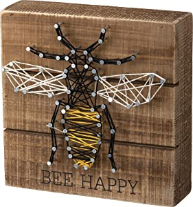 Primitives by Kathy String Art Wooden Box Sign, 6 x 6-Inches, Bee Happy