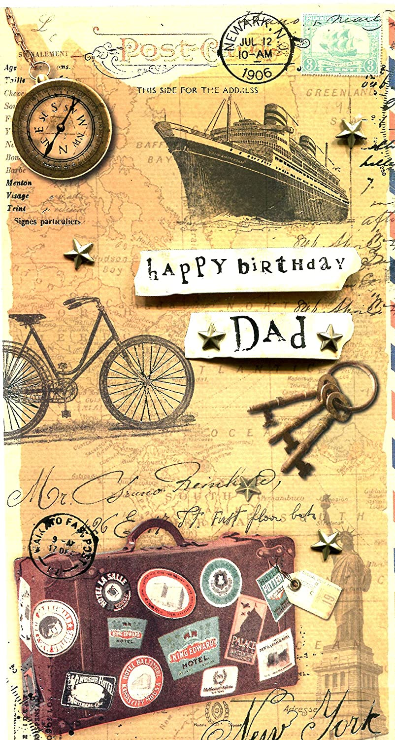 Happy birthday card Dad travel themed 2D effects: Amazon co
