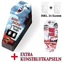 """FXSTUFF Vampirzähne """"Blood Sucker"""" + Kunstblut Kapseln + Abformmasse / Thermoplastik (wiederverwendbar) - perfekter Halt durch individuelle Anpassung"""