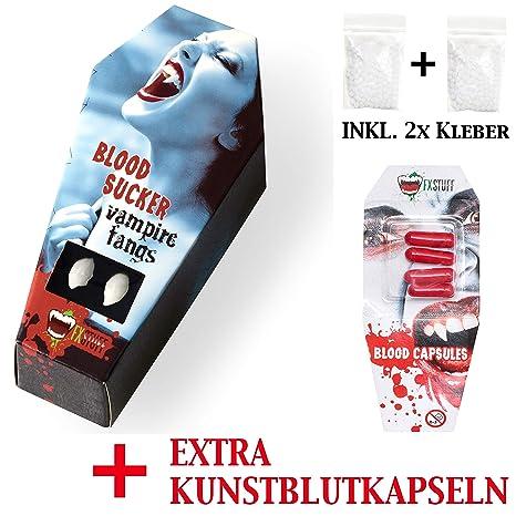 FXSTUFF Denti da vampiro + capsule di sangue finto + pasta  modellabile termoplastica (riutilizzabile d67f09f04aab