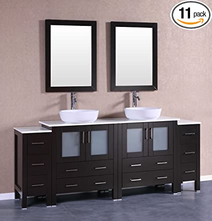 Bosconi Ab230bwlps2s 84 Double Vanity Set With Oval Vessel