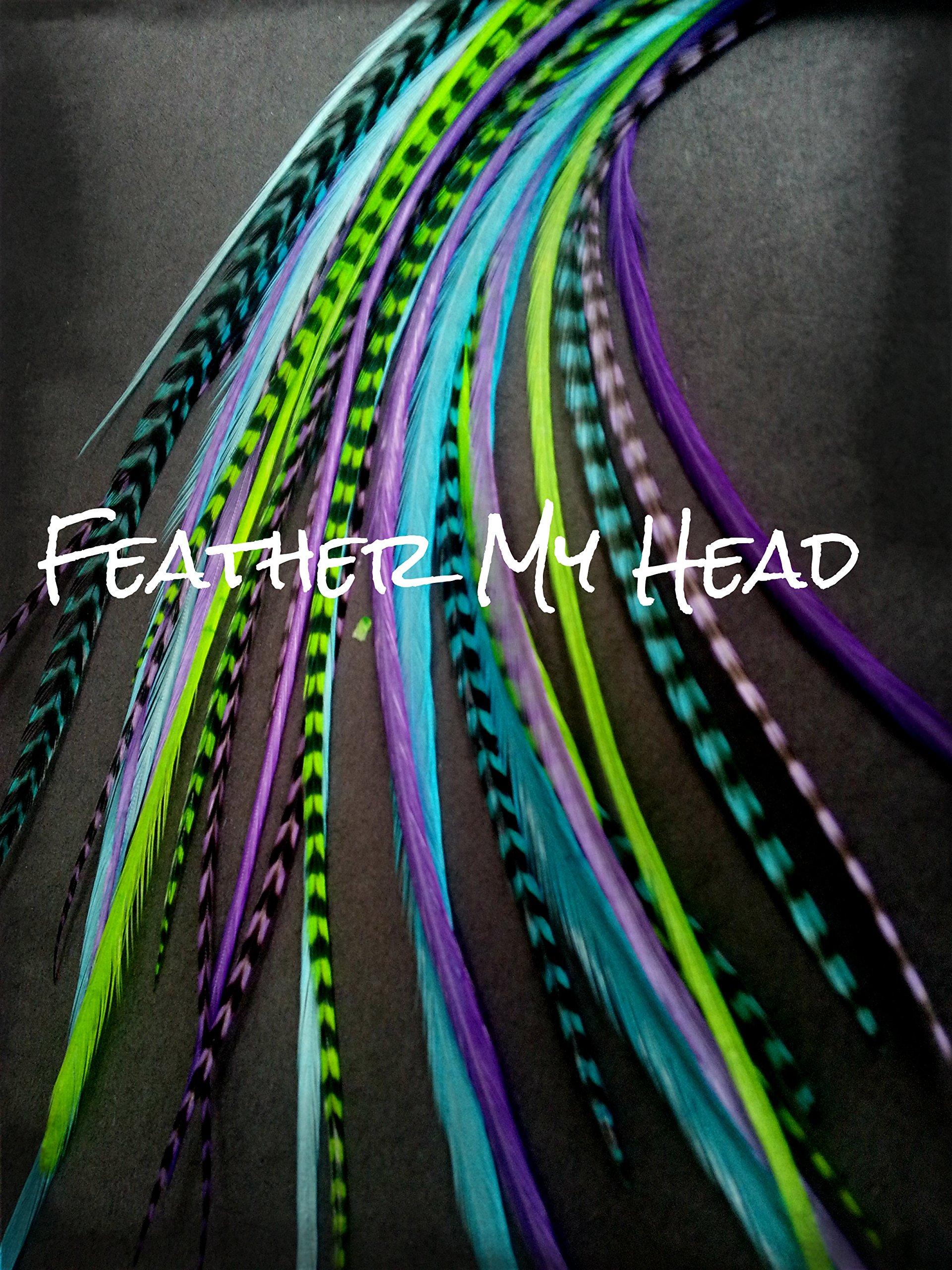 Feather Hair Extensions - 16 Piece - Purple Green Blue - Caribbean 11'' - 14'' Long (28-36 cm)