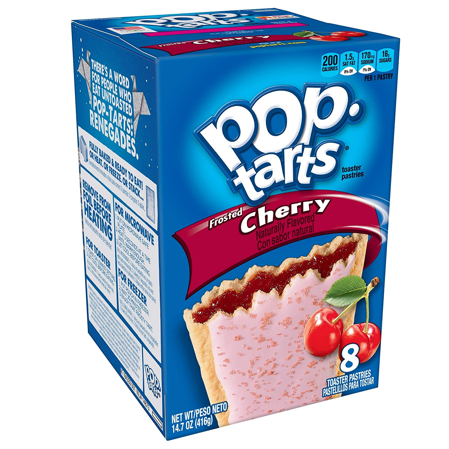Pop-Tarts Breakfast Toaster Pastries, Frosted Cherry Flavored, 14.7 oz (8 Count)