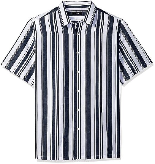 af88c917efd76 Amazon.com: Theory Men's Irving Wide Stripe Shirting Short Sleeve ...