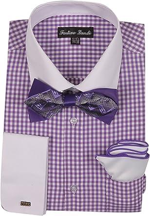 FORTINO LANDI FL628 - Camisa de Cuadros para Hombre con Pajarita y pañuelo francés
