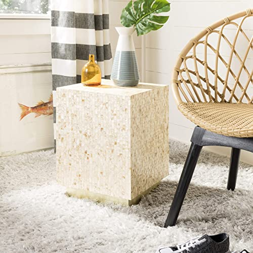 Safavieh Home Juno Multi Beige and Gold Faux Mother of Pearl Rectangle Mosaic Side Table