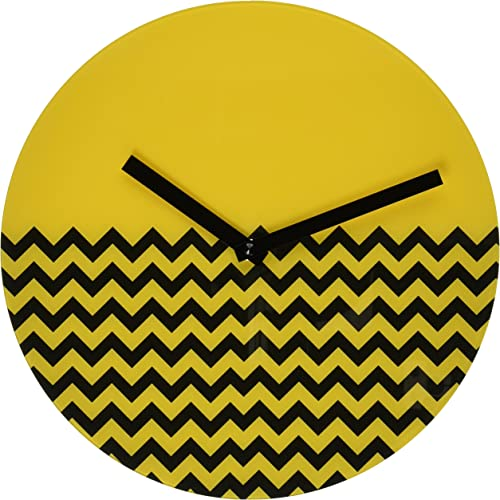 Refelx Non-Ticking Silent Acrylic Wall Clock, Large, Chevron, Yellow