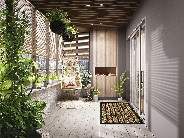 29X17 Olanly Original Durable Striped Door Mat Easy Clean Heavy Duty Doormat Indoor Outdoor Striped Chocolate