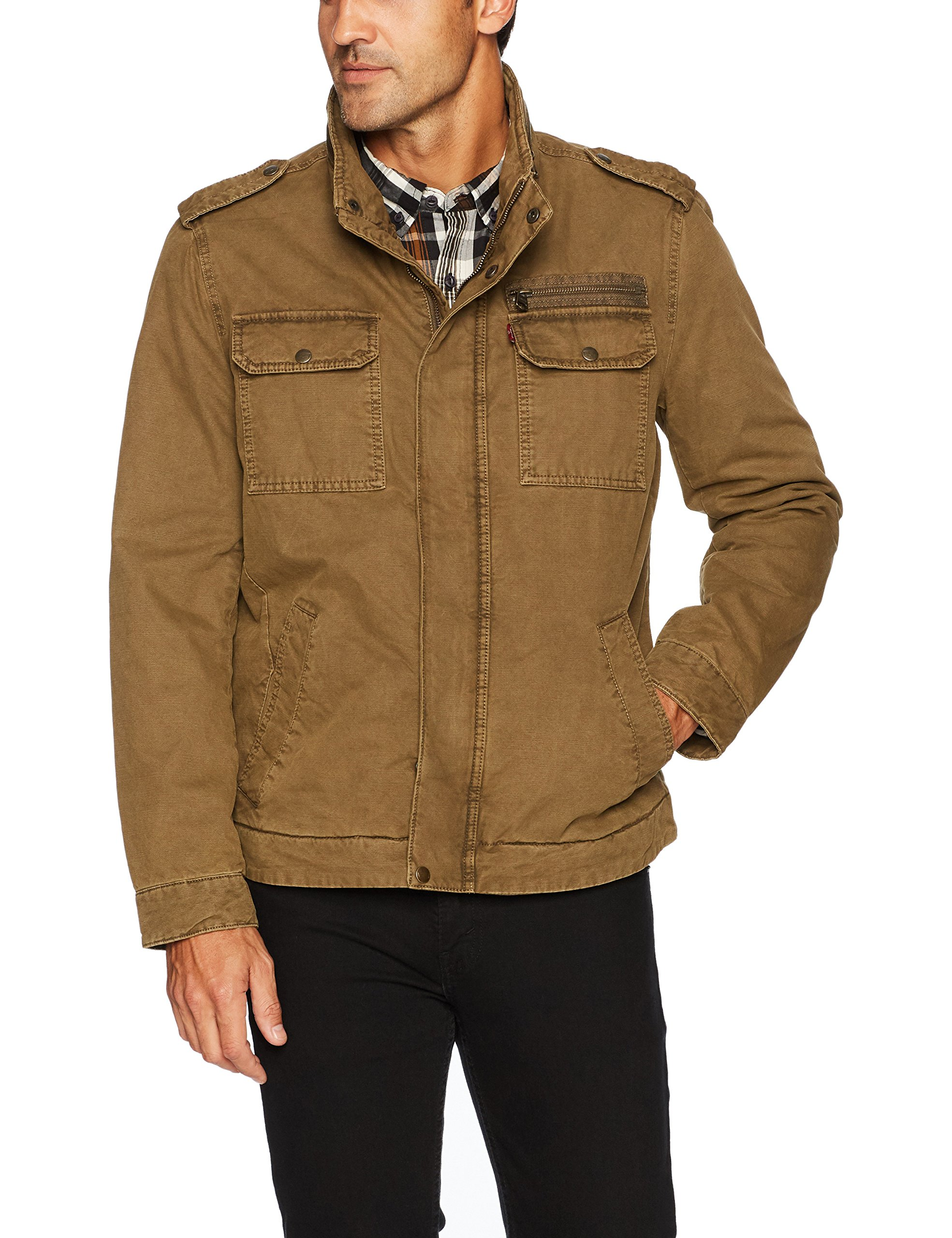 Levi's Men's Washed Cotton Two Pocket Miliatary Jacket (Regular and Big and Tall Sizes), Khaki, Small by Levi's