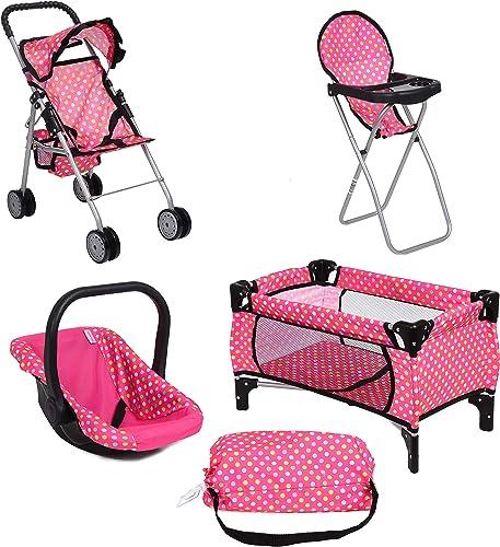 Fash n Kolor 4 Piece Doll Play Set pink with polka dot design
