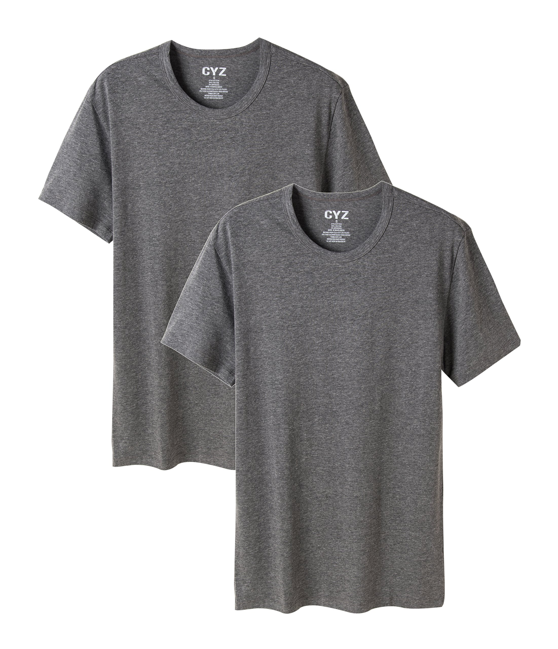 CYZ Mens 2-PK Cotton Stretch Crew Neck Fitted T-Shirt-Charcoal-L