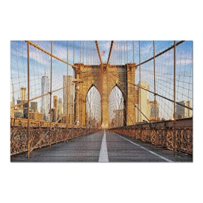 New York City, New York - Brooklyn Bridge 9006453 (Premium 1000 Piece Jigsaw Puzzle for Adults, 20x30, Made in USA!): Toys & Games