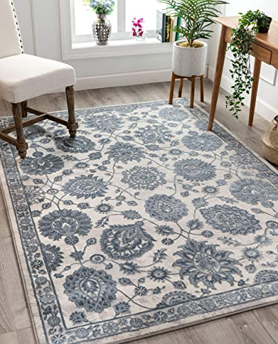 Well Woven Stella Ivory Persian Floral High and Low Pile Area Rug 8×10 7'10″ x 10'6″
