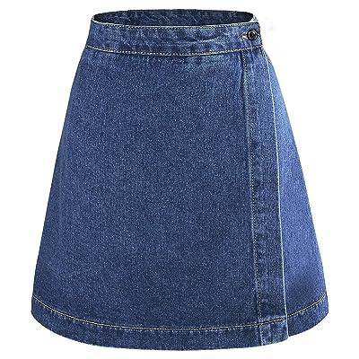 aahdhskky Causal Summer Short Skirt Basic A Line High Waisted Denim Skirt