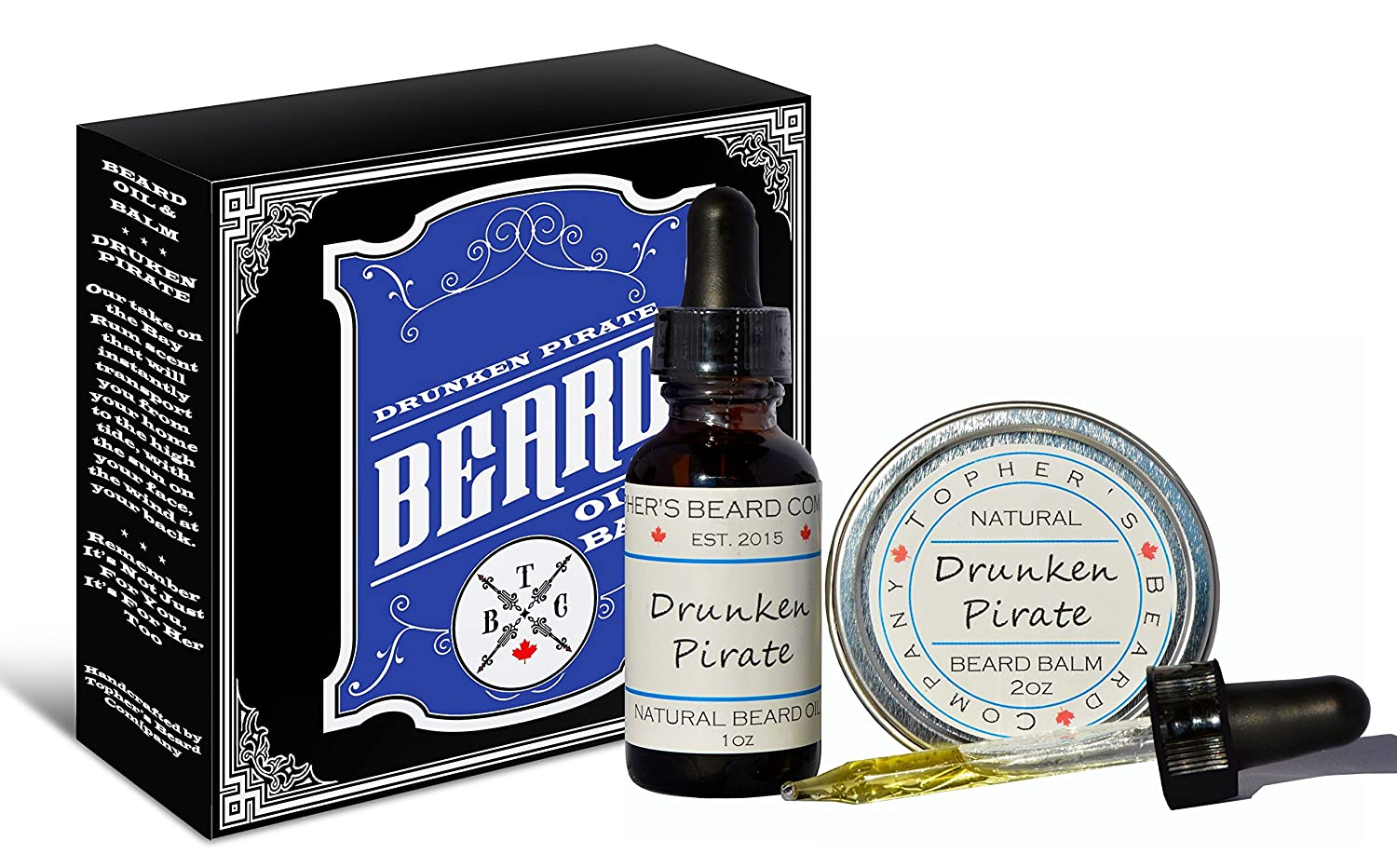 Drunken Pirate (Bay Rum) Premium Scented Beard Oil and Balm Combo (1oz & 2oz) - Topher's Beard Company for Growth, Moisturizing and Conditioning Topher's Beard Company
