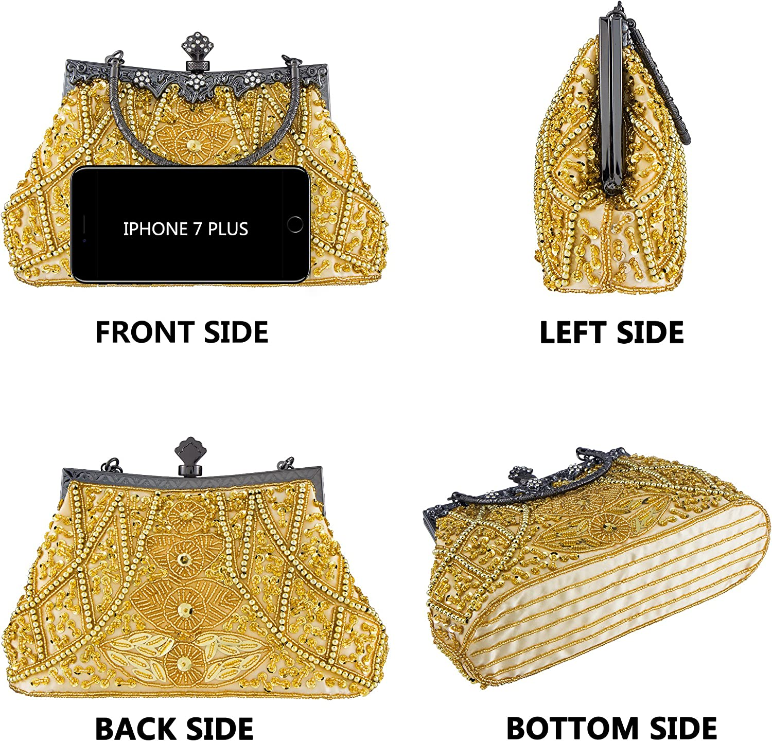 Bagood Womens Vintage Style Beaded And Sequined Evening Bag Wedding Party Handbag Clutch Purse