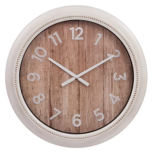 Patton Wall Decor 22 Inch Rustic Wall Clock in Distressed White