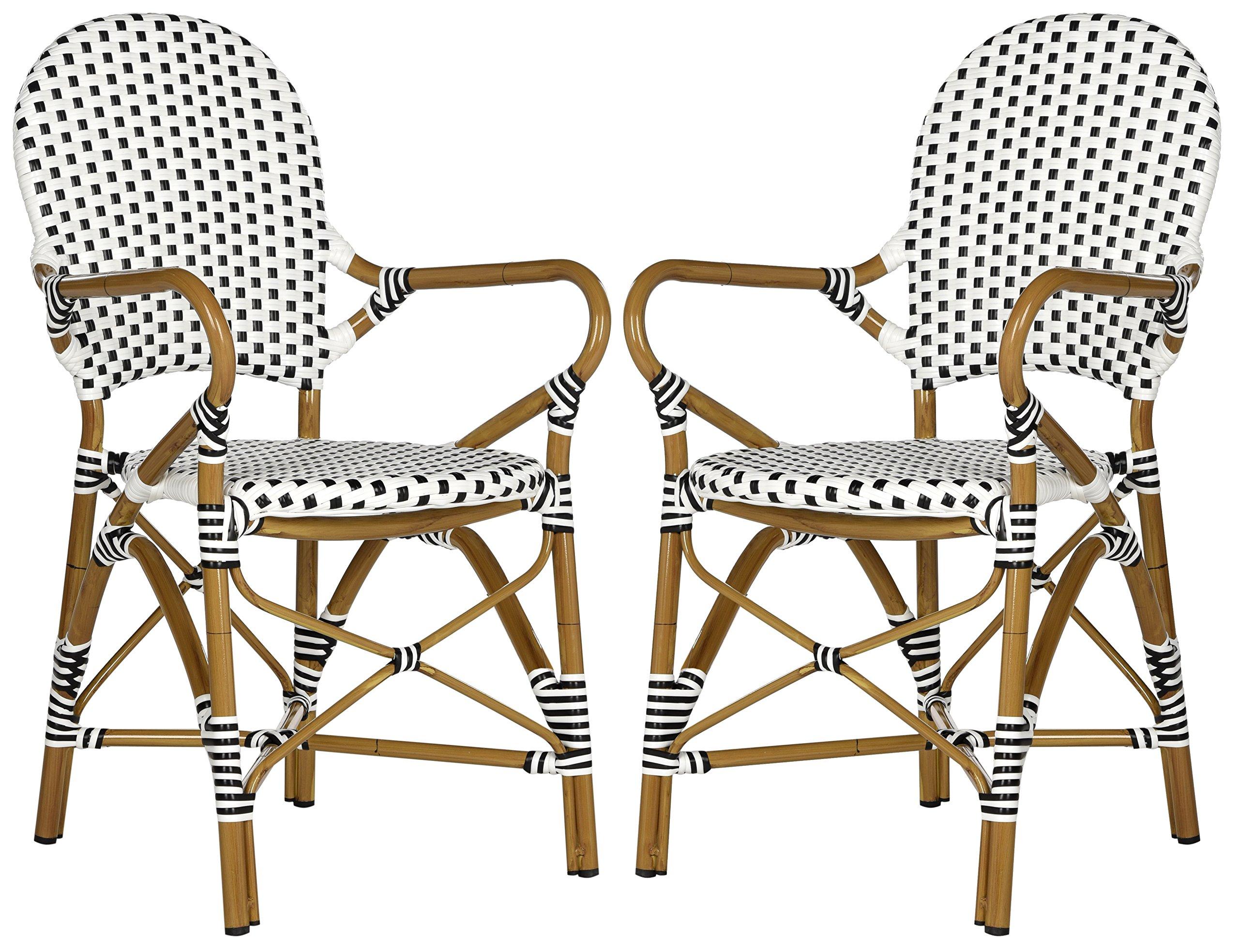Safavieh Home Collection Hooper Indoor-Outdoor Stacking Arm Chair (Set of 2), Medium Oak/Black