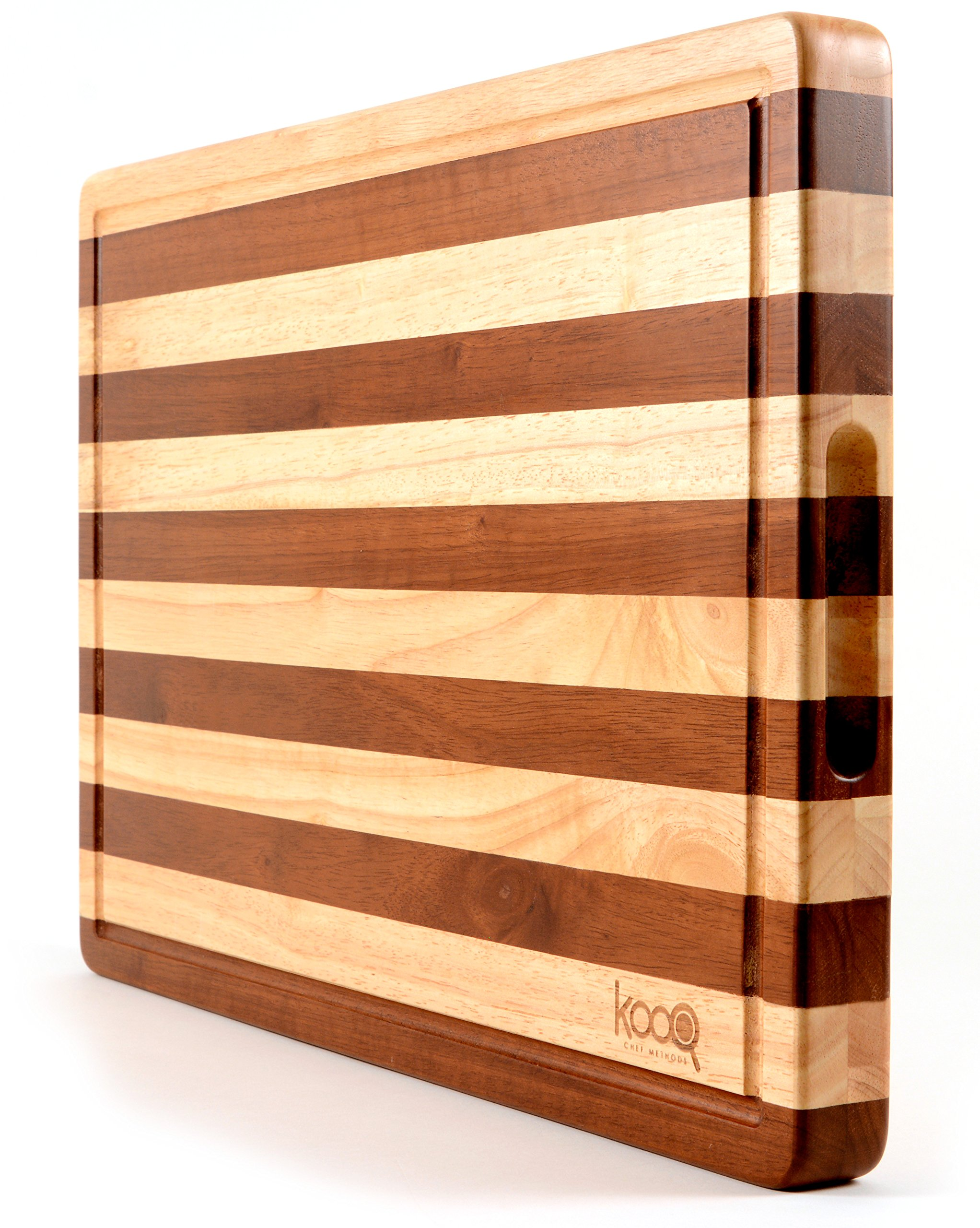 "PREMIUM - The Most Beautiful Two-Tones Chopping Block and Cutting Board! Unique Butcher's Block (Extra Large - 19.5"" by 14"" and 1.5"" thick) - Luxury Cheese Board too."