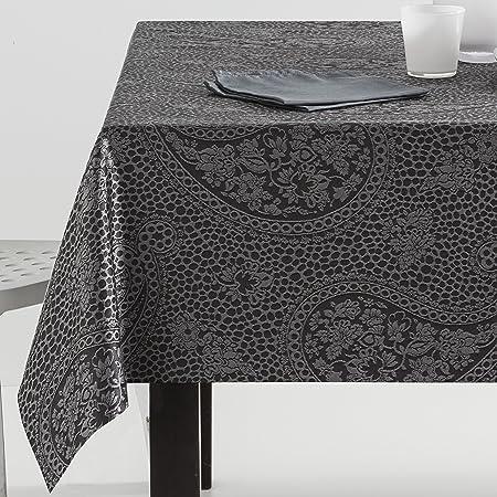 ESTELA - Mantel Jacquard Kashmir Color Gris - 140x300 cm. - Incluye servilletas - 50% Algodón / 50% Poliéster: Amazon.es: Hogar