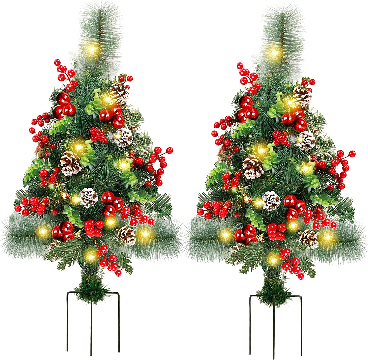 FORUP Set of 2 30 Inch Pre-Lit Pathway Christmas Trees, Outdoor Christmas Tree Decorations for Porch, Driveway, Yard, Garden, with 66 LED Lights, Red Berries, Pine Cones, Red Ball Ornaments…