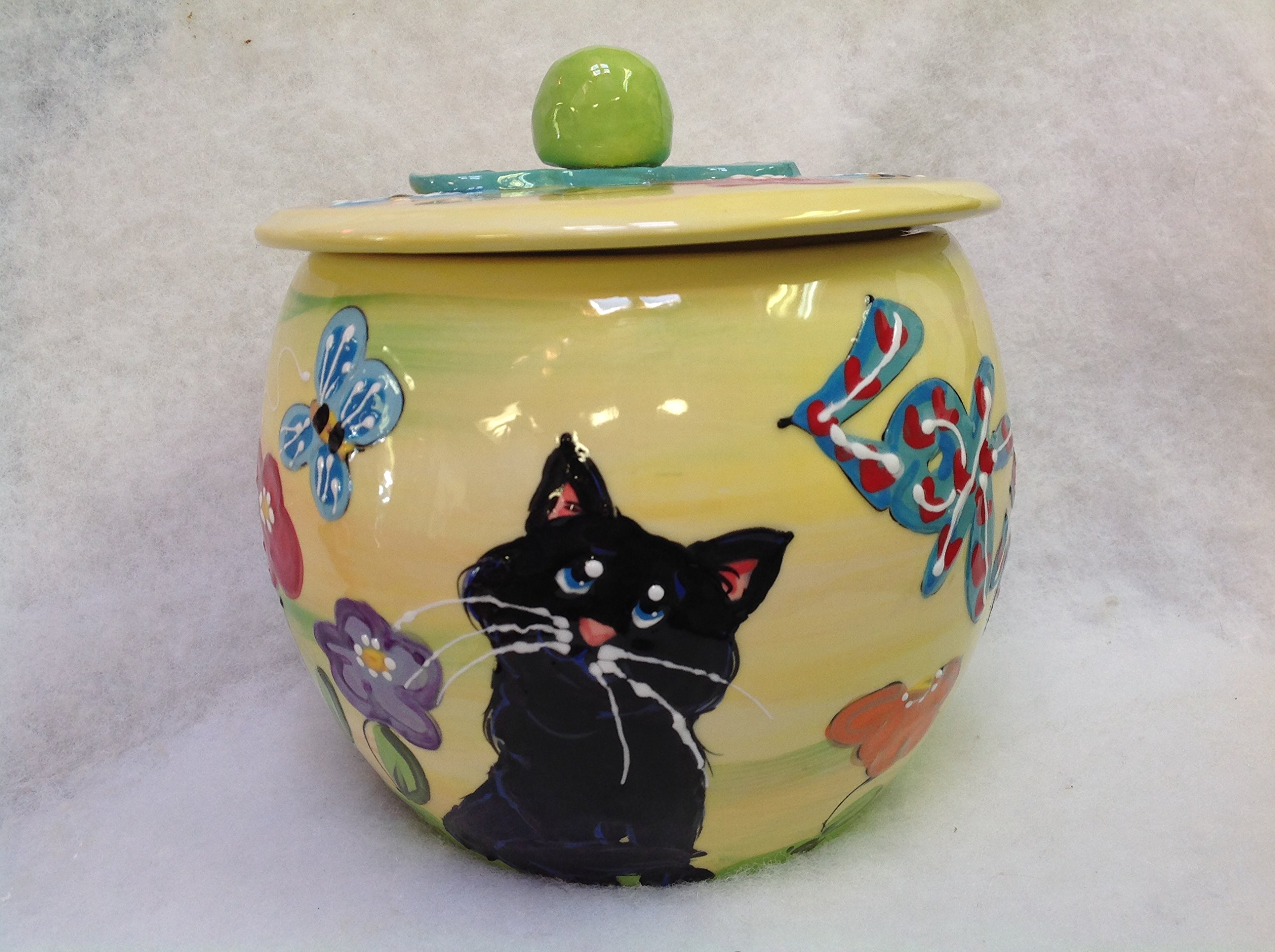 Treat Jar for Cat Treats. Personalized at no Charge. Signed by Artist, Debby Carman.