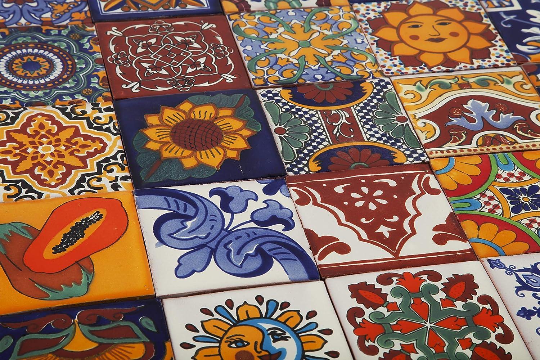 fait /à la main carreaux mexicain couleurs Carrelage en c/éramique mexicaine 10x10cm Lot de 30 pi/èces Cerames Conrado