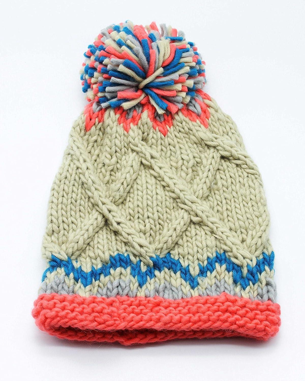 3e6936c2991333 WORTHTRYIT Women's Handmade Chunky Knit Bobble Beanie Hat With Pom-Pom 16