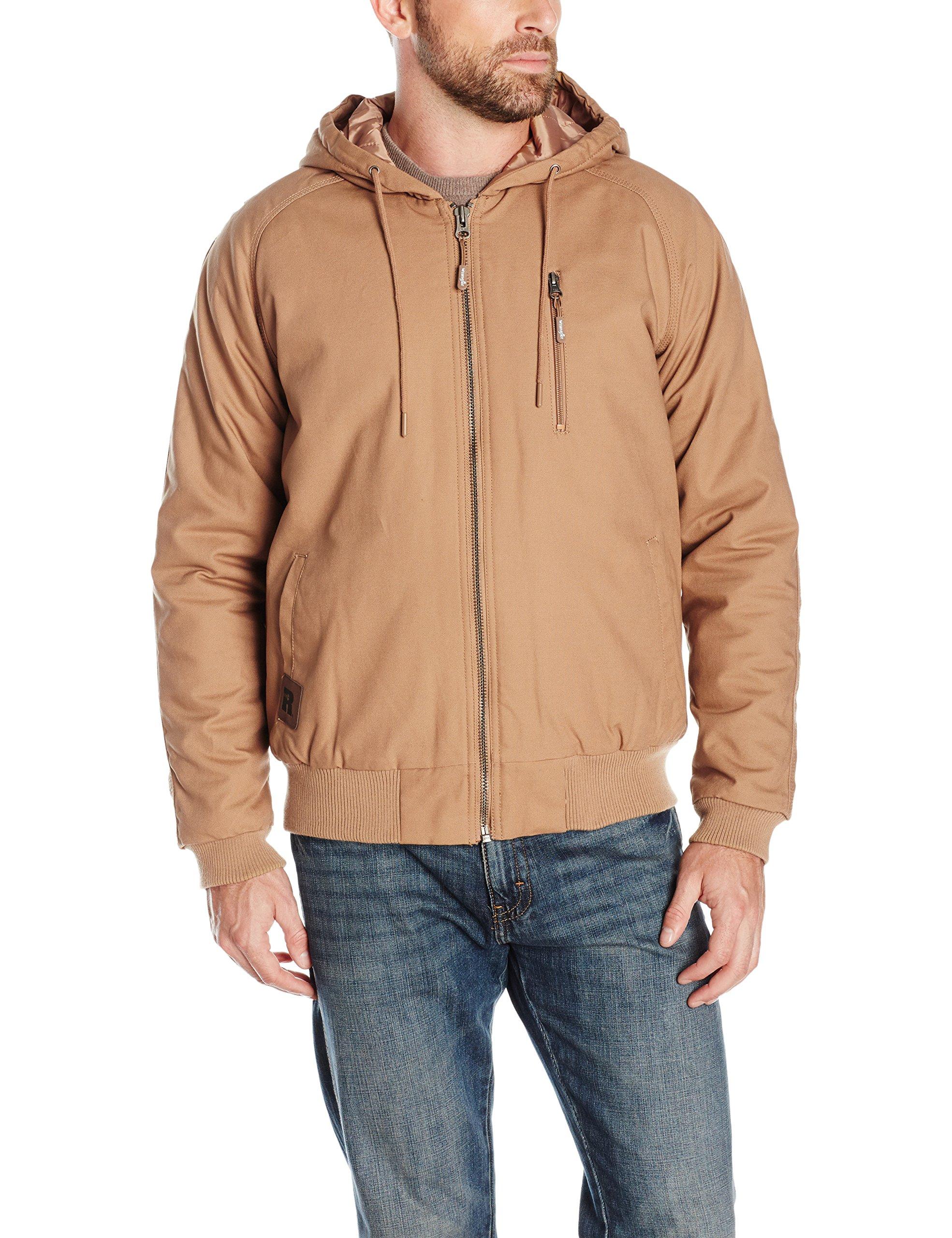 Wrangler Riggs Workwear Men's Utility Hooded Jacket, Rawhide, Large