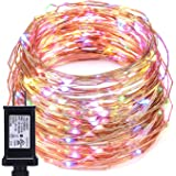 String Lights, Oak Leaf 39.2ft 120 LEDs Multi Color Fairy Lights Starry Light Copper Wire Waterproof Decor Rope Lights, for Outdoor Indoor Party Wedding Festival Decorations, 3.5v Power Adapter