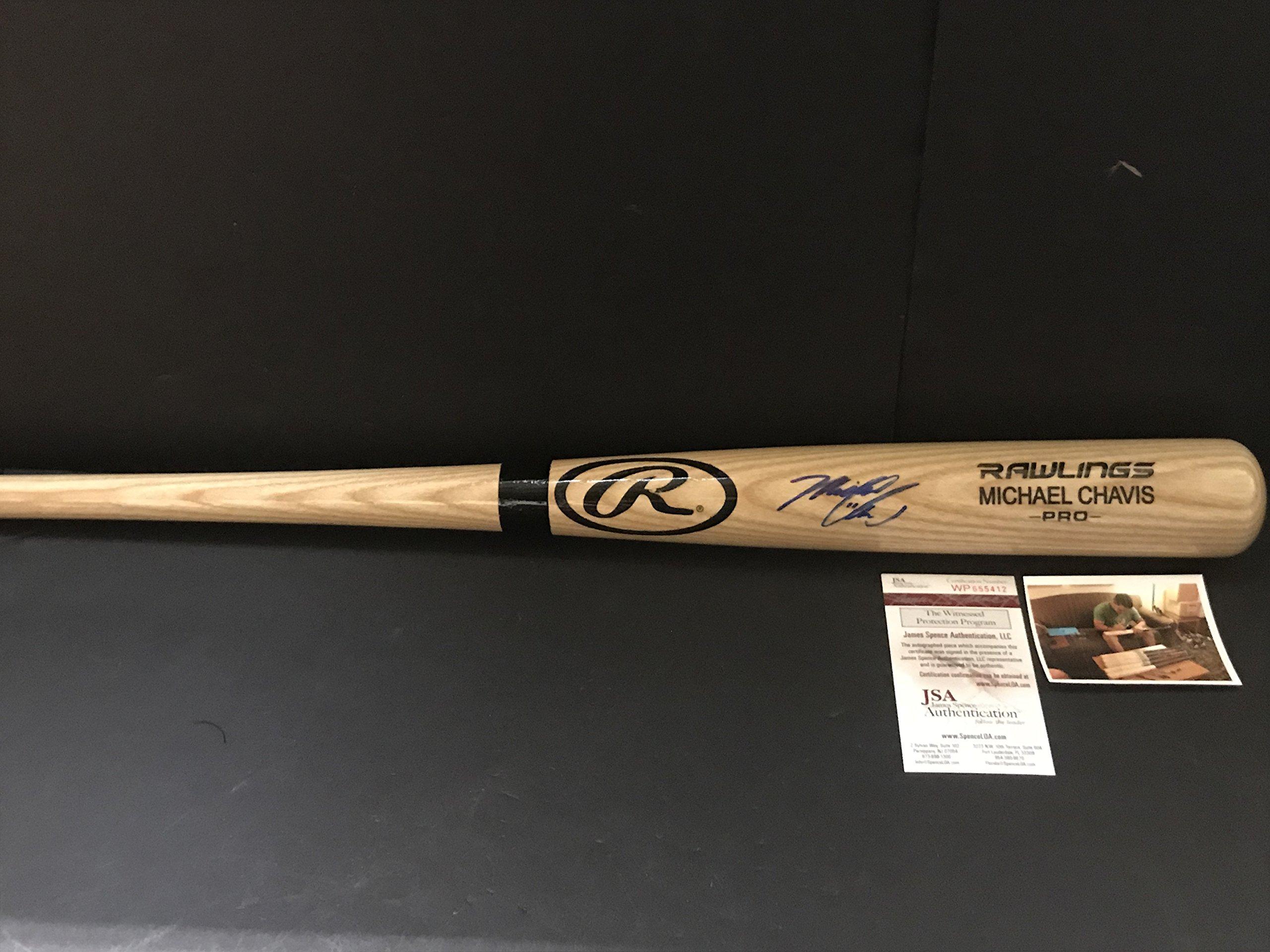 Michael Chavis Boston Red Sox Autographed Signed Blonde Baseball Bat JSA WITNESS COA