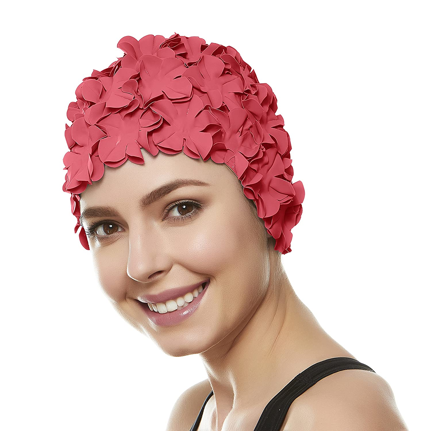 47b56ee086f Amazon.com   Beemo Floral Petal Swim Cap for Women â Retro Style Vintage  Bathing Cap Swimming Hat for Long and Short Hair - Coral Pink   Sports    Outdoors