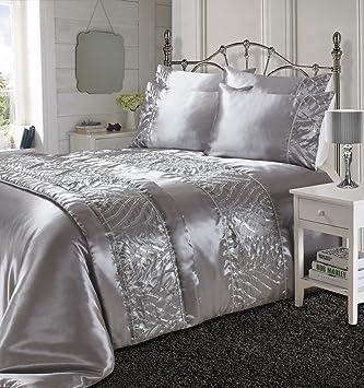 Linensrange Shimmer Silber Fancy Steppdecke Bezug 100 Polyester