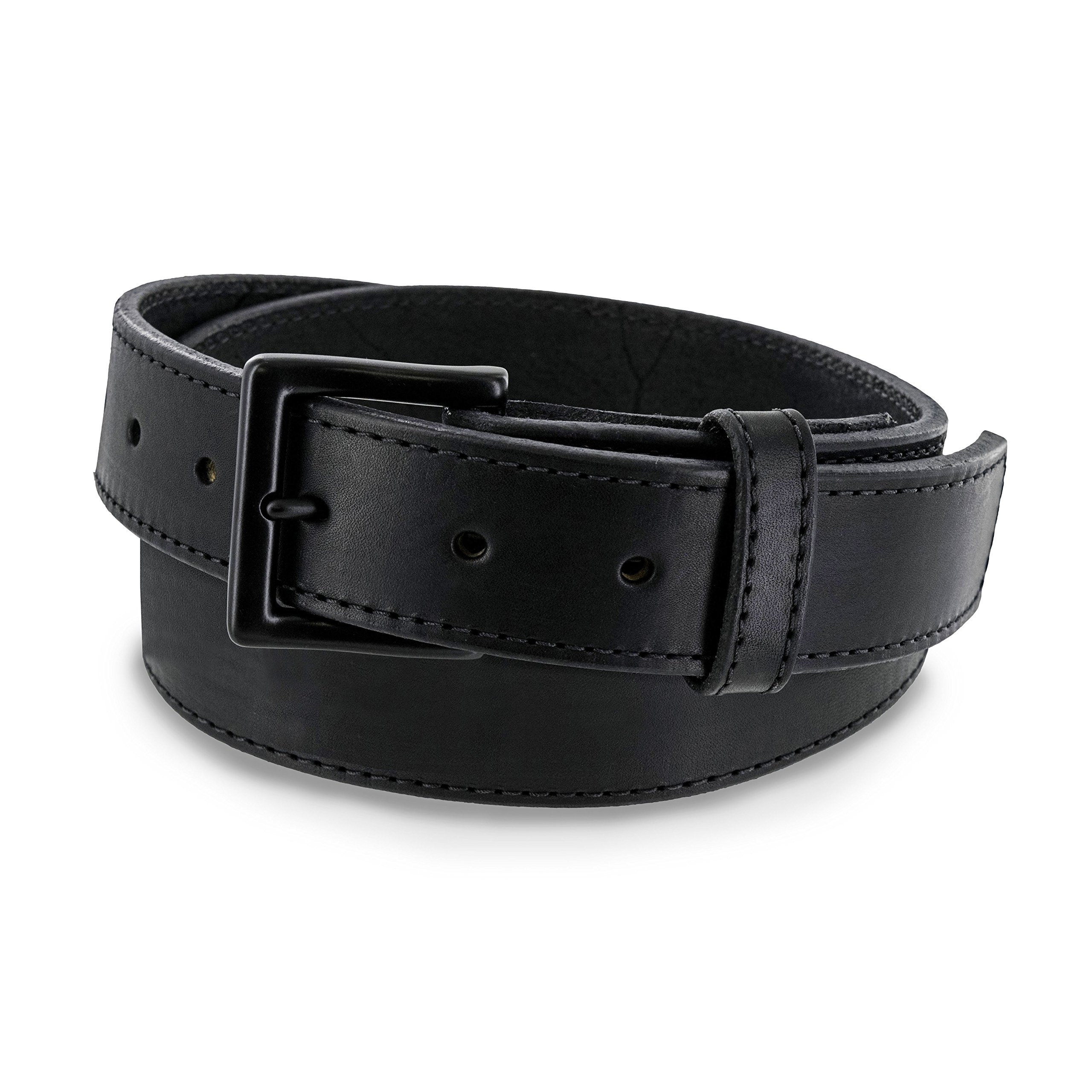 b5c6e5157b6 Hanks NO Break Black Out Leather Gun Belt - 17OZ for Concealed Carry CCW  Tactical USE