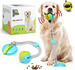 Pets Team Suction Cup Dog Toy –Dog Chew Toy – Tug Toys – Toys for Active Dogs and Aggressive Chewers – Puppy Puzzle Toy with Food-Dispensing Ball – Great for Clean Teeth- Improved Suction Design