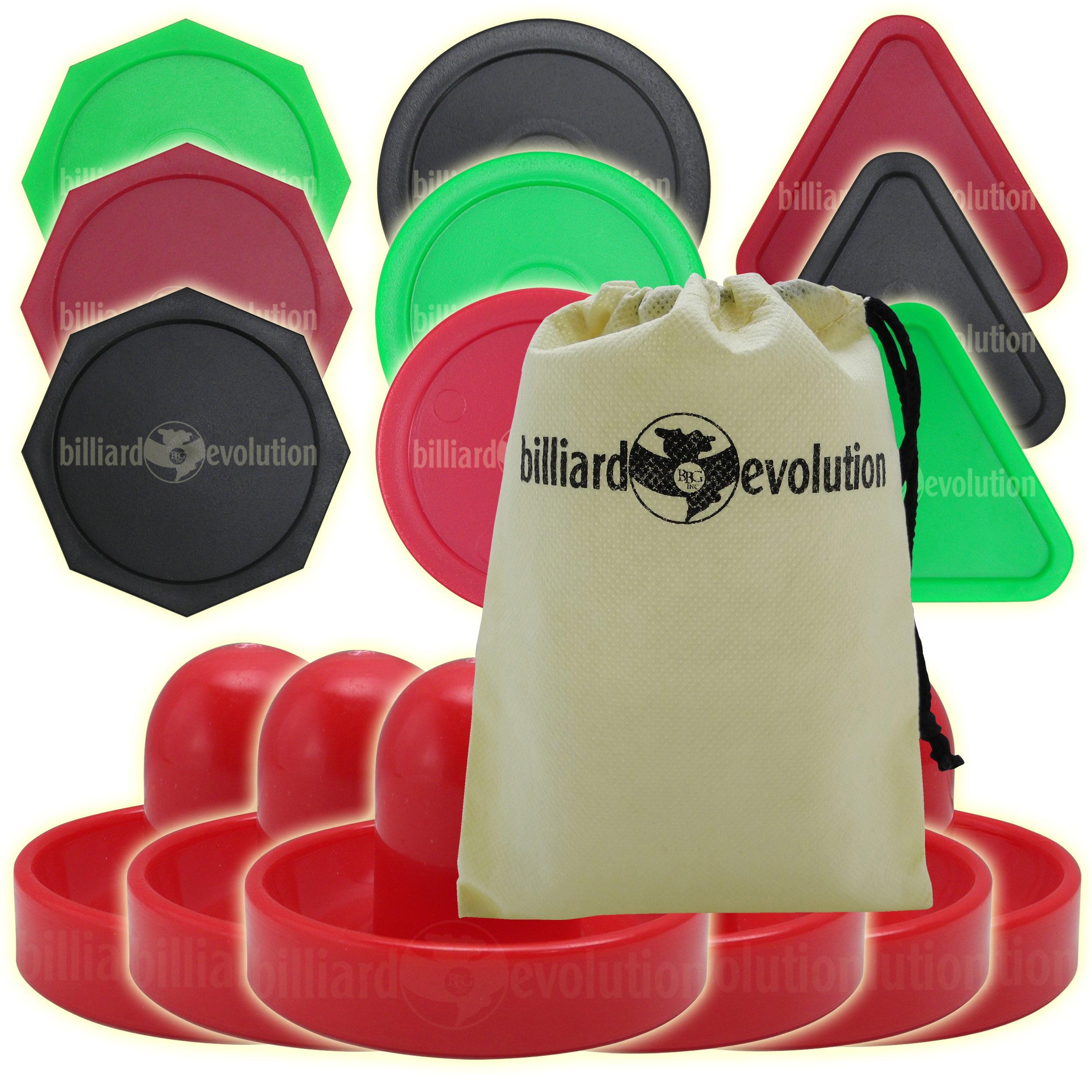 Billiard Evolution 6 Red Air Hockey Pushers and 9 Pucks-Round Triangle Octagon