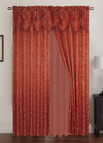RT Designers Collection Franklin Jacquard 108 x 84 in.-Rod Pocket Panel Pair w Attached 18 in. Valance, Orange Set of 2